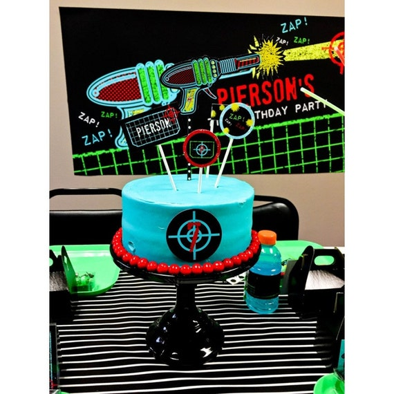 Laser Tag Cake Toppers Laser Tag Birthday Party Printable Cake Etsy