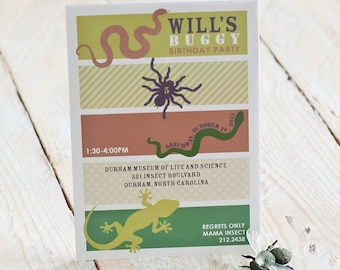 Insects Invitation Reptiles Invitation Snakes, Lizards, Spiders, Bugs, Buggy Birthday Invitation - Printable Customized Invitation