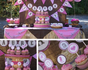 Cowgirl Western Birthday - Printable Customized Package