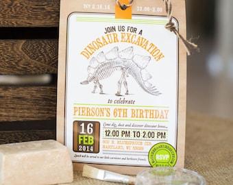 Dinosaur Excavation Dino Dig Paleontologist Fossil Science Birthday - Printable Customized Invitation