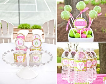 Tennis Preppy Sports Birthday - Pink and Green - Printable Customized Package
