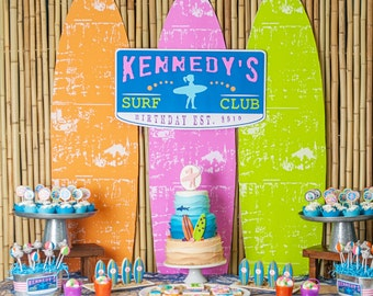 Surfer Girl Surfs Up Sharks Birthday Party - Printable Customized Package