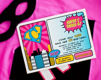 Vintage Super Girl Birthday - With or Without Photo - Printable Customized Invitation