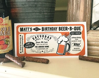 Beer B Que Birthday Party Barbeque Cookout Beer Tasting Vintage - Printable Customized Invitation