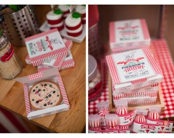 Pizzeria Pizza Party Pizza Box Favor Template - Customized Printable