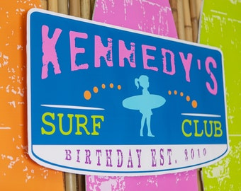 Surfer Girl Surfs Up Surf Club Sign - Printable Customized 16x30 Poster