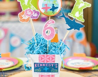 Surfer Girl Surfs Up Surf Club Cake Toppers