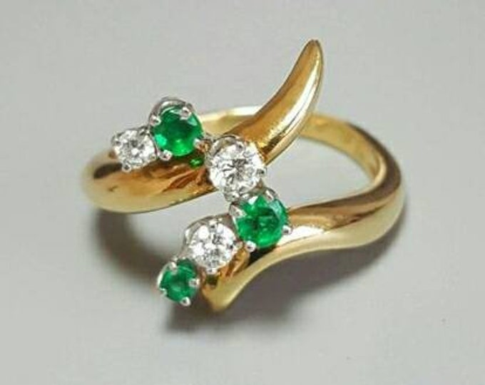 18K Yellow Gold and Platinum Emerald and Diamond Ring. Hallmark in the Ring is for McTeigue & Co.