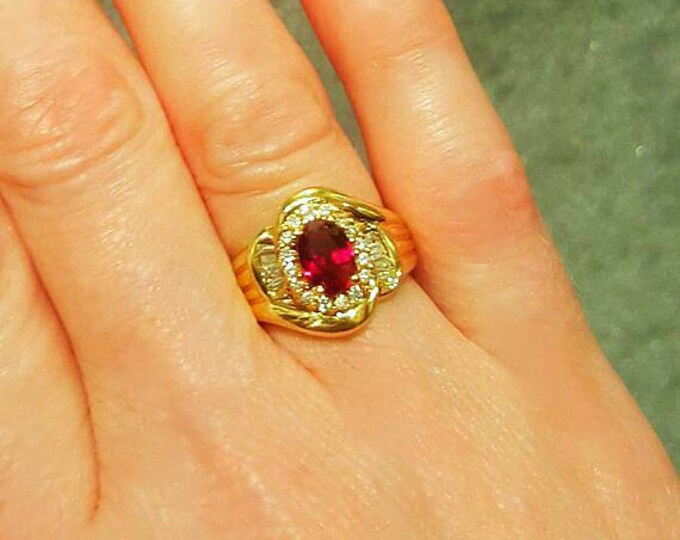 14K Yellow Gold Synthetic Ruby with Genuine Diamonds, Ring.