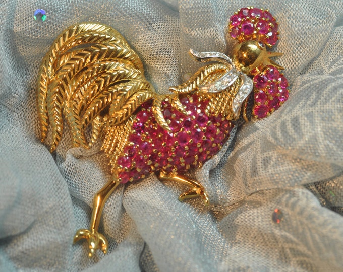 18K Yellow Gold Ruby and Diamond Rooster Brooch.