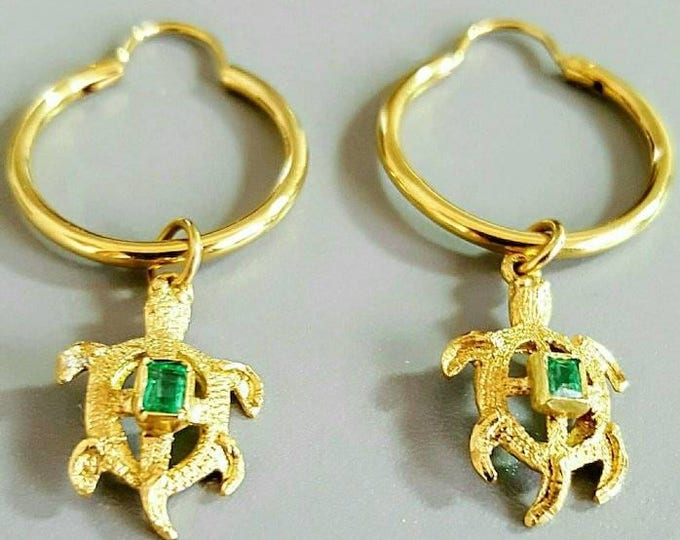 Pair of 18 Karat Yellow Gold Genuine Emerald Turtle Design Dangle Style Earrings.