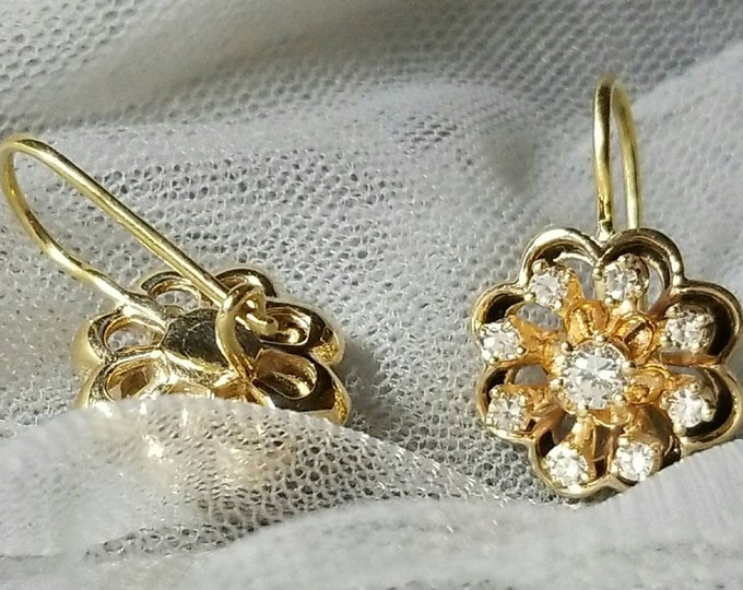 Pair of 14K Yellow Gold Diamond Earrings Accented with Black Enamel with 18K Yellow Gold Custom Earring Wires and Hooks. Stunning Well Made