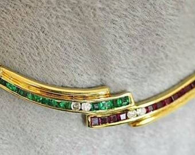 18K Yellow Gold Genuine Emerald, Ruby and Diamond Necklace.