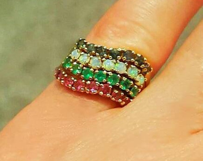 14K Yellow Gold Multi Gemstone Ring. Genuine Rubies, Sapphires, Emeralds and Opals. Stackable Ring, Bridal Ring, Anniversary, Birthstone.