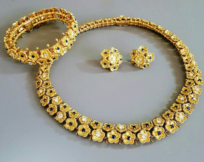 18K Yellow Gold Sapphire and Diamond Necklace, Bracelet and Earring Set.  Marked Made in FRANCE.