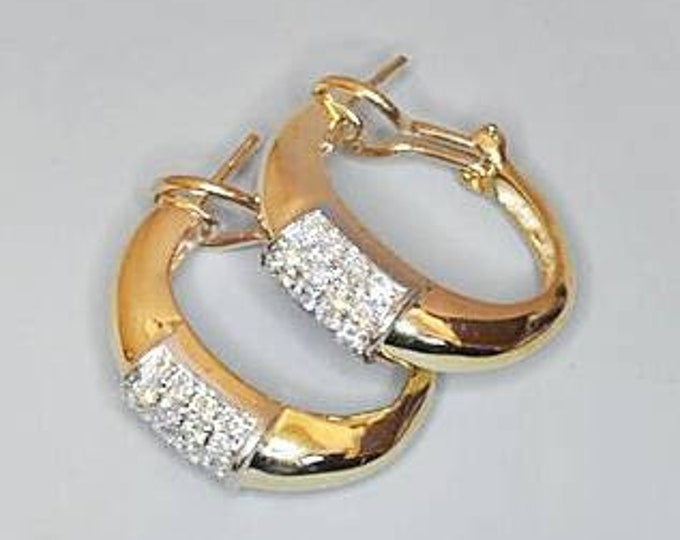 Stunning 14K Yellow Gold Diamond Hoop with Omega Back Diamond Earrings. Free U.S. Shipping. International Charges May Vary.
