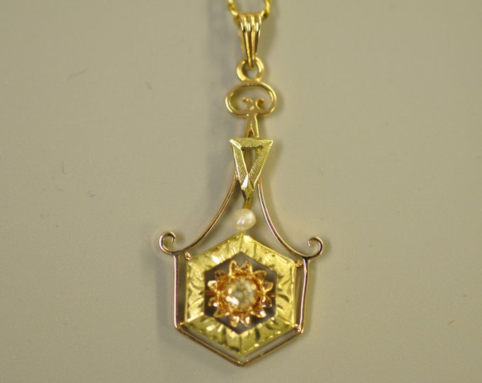 10K Yellow Gold and Rose Gold Diamond and Pearl Pendant.