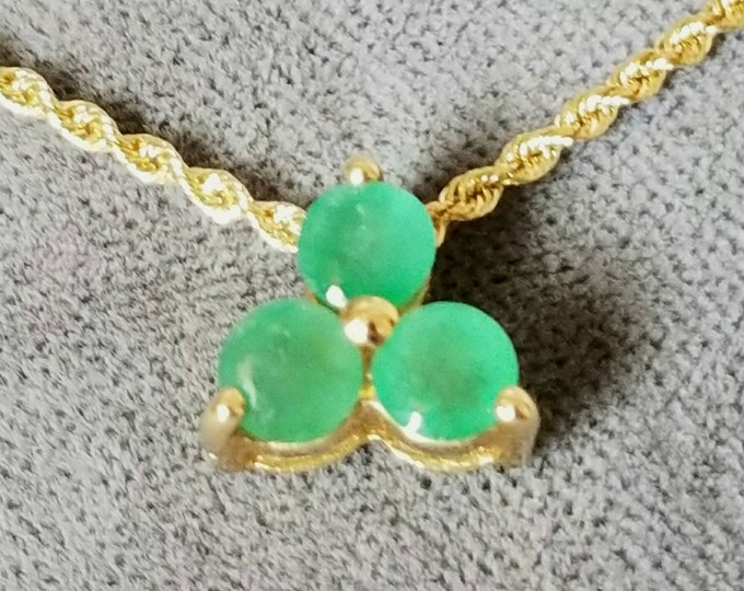 10K Yellow Gold Genuine Emerald Pendant or Pendant Slide. A Selection of Necklace Chains are Available at an Additional cost Some Pictured