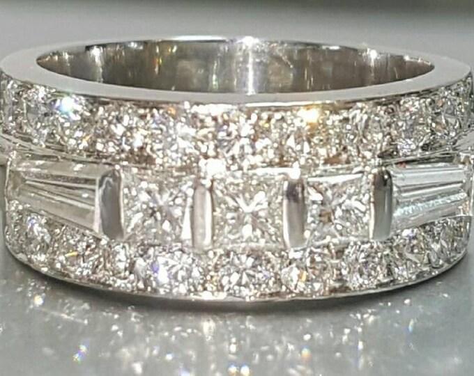 Beautiful Platinum Diamond Ring. Super Sparkly, High Quality Ring, Anniversary, Wedding, Engagement, Statement Ring. Multiple Diamond Cuts