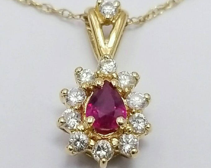 14 Karat Yellow Gold Beautiful Genuine Ruby and Diamond Pendant. July Birthstone, Classy Pendant, Halo Pendant, Red Color