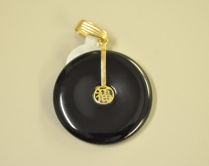14K Yellow Gold Round Onyx Disc Pendant. Good Fortune in the Center of the Pendant.