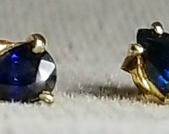 Pair of 14K Yellow Gold Genuine Blue Sapphire Earrings.
