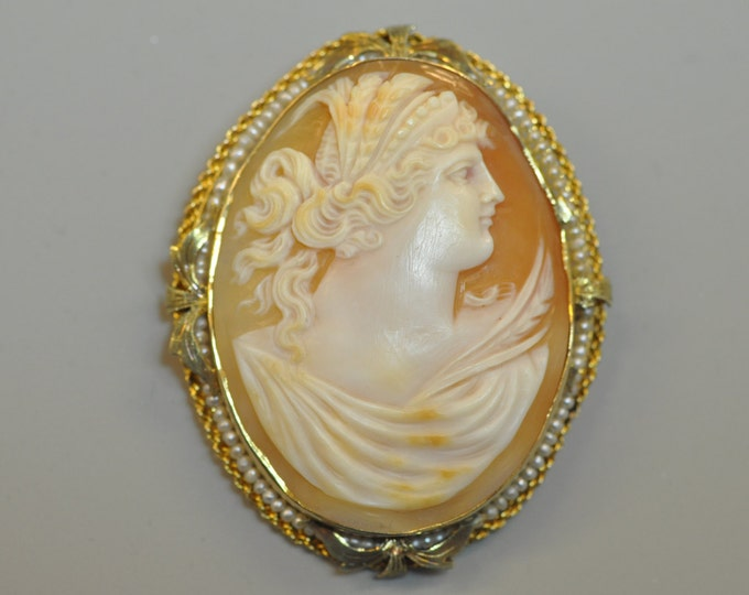 10K Yellow Gold Shell Cameo and Pearl Pendant Brooch. Necklace Chains are Sold Separately if Needed to Wear the Cameo as a Pendant.