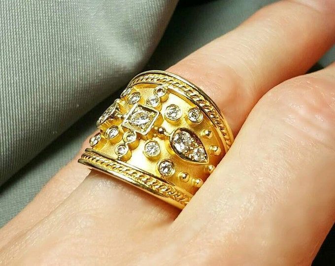 14K Yellow Gold Diamond Ring.  Free U.S. Shipping.  International Charges Vary.