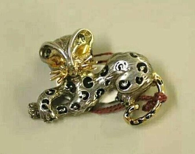 14K White Gold, Yellow Gold Accented with Black Enamel Kitten Brooch