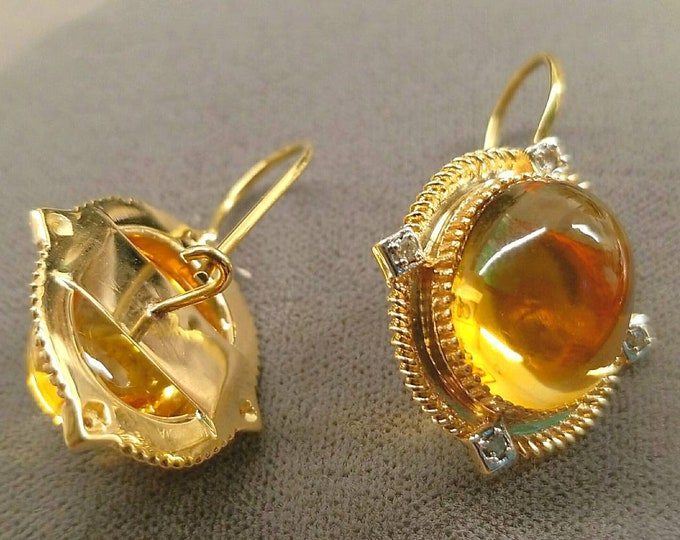 14K Yellow Gold Citrine and Diamond Earrings. Custom fit 18K Yellow Gold Earring Wire is Attached to the Backs of the Earrings for Fastening
