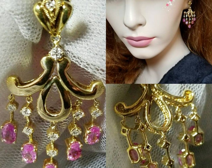 Gorgeous Pair of Marked 14K and 585 Yellow Gold Chandelier Style Earrings set with Pink Sapphires and Diamonds. Post and Push Backs.