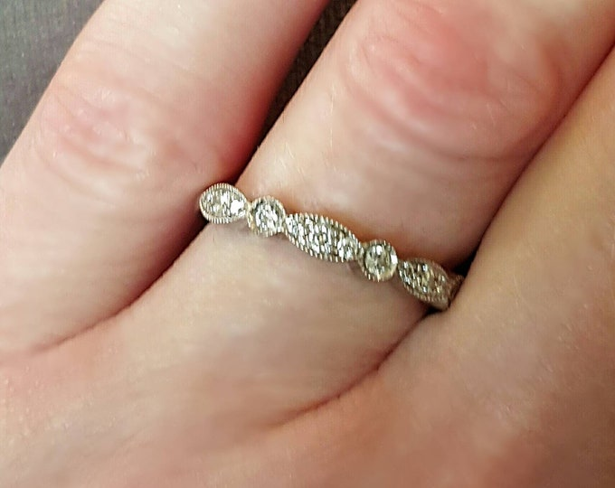PRICE REDUCED....Offers Welcome....18 Karat White Gold Diamond Wedding, Anniversary or Stackable Ring.
