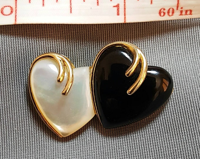 14K Yellow Gold Double Heart Shaped Mother of Pearl and Onyx Pendant Enhancer.