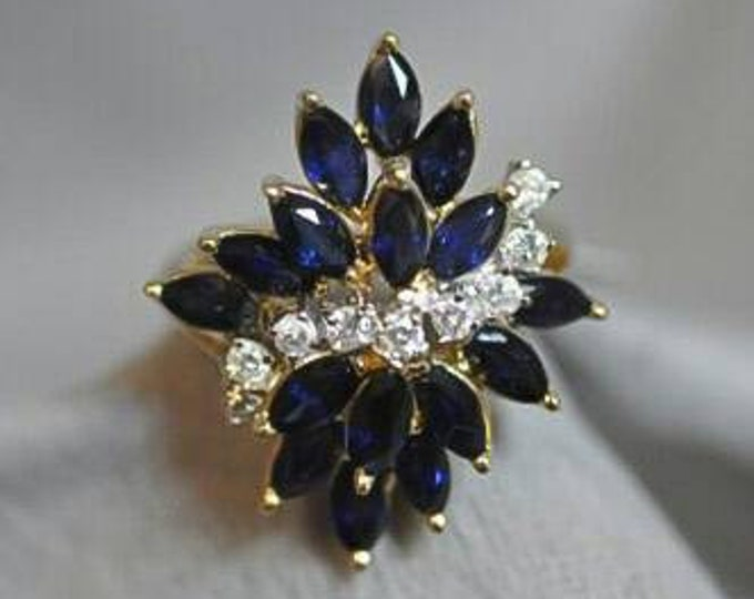14K Yellow Gold Sapphire and Diamond Cocktail Ring.