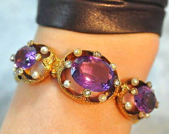 18K Yellow Gold Amethyst, Diamond and Pearl Antique Bracelet.