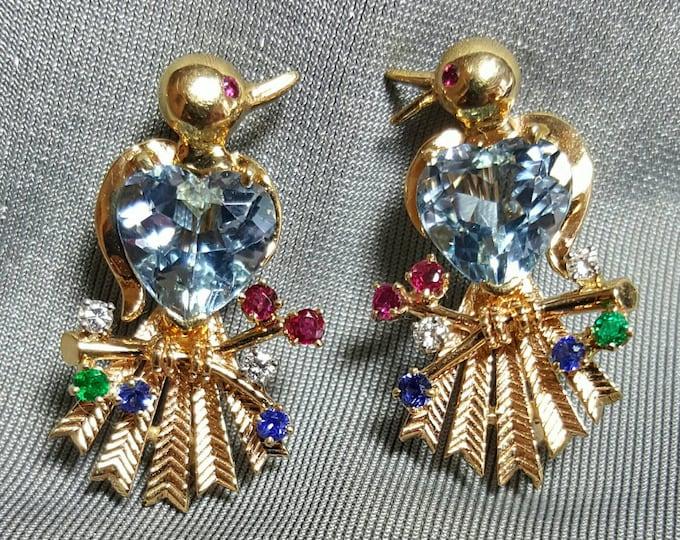 Pair of 14 Karat Yellow Gold Aquamarine, Diamonds and Gemstones Birds Design Brooches