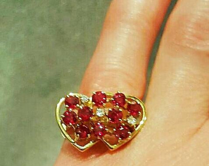 14K Yellow Gold Ruby and Diamond Double Heart Design Ring.