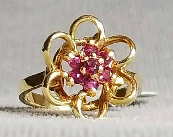Hallmarked 14K Yellow Gold Genuine Ruby Ring.