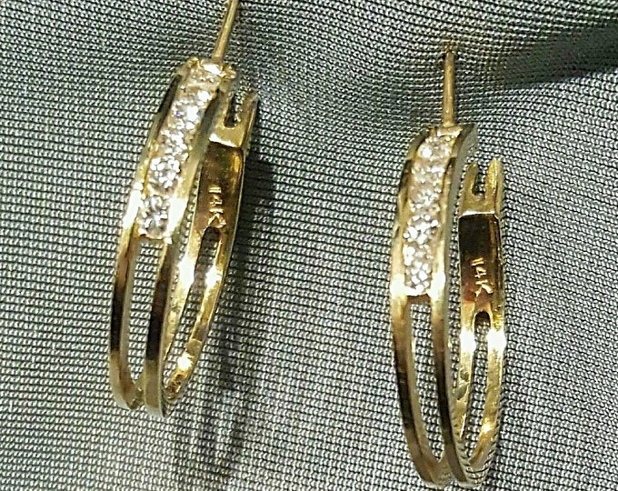 PRICE REDUCED.....OR, Offers....Pair of 14K Yellow Gold Diamond Hoop Style Earrings. Sparkly Diamonds.