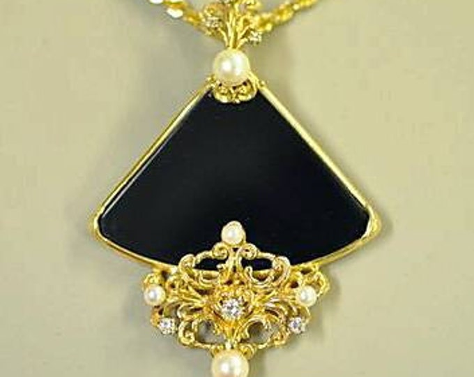 Gorgeous Custom Designed Onyx, Pearl and Diamond Pendant with Necklace Chain. This Pendant is One of My Favorites. Stunning and So Classy