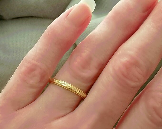 Hallmarked 14K Yellow Gold Blue Bird Wedding Ring, Band, Anniversary or Stackable Ring.