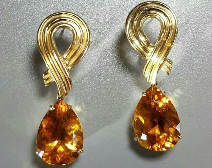 Pair of 14 Karat Yellow Gold Beautiful Citrine Pierced Style Earrings in a Dangle Style.