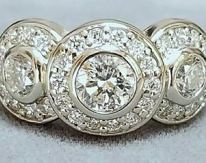 PRICE REDUCED.....Or, Offers....14 Karat White Gold Triple Halo Style Diamond Ring.