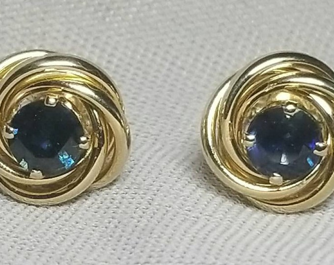 Pair of 14K Yellow Gold Genuine Sapphire Earrings in a Knot Style and Four Prong Set Sapphires