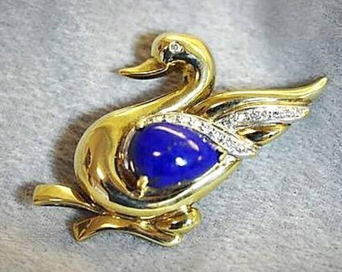 14 Karat Yellow Gold Lapis Lazuli and Diamond Swan Design Brooch