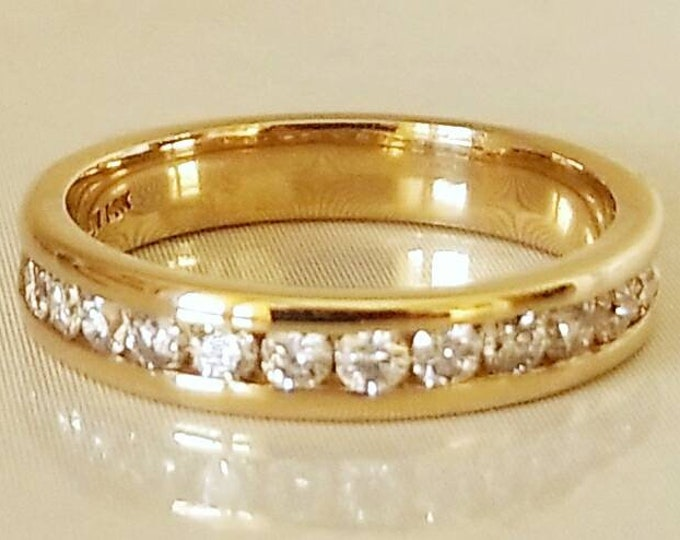 14K Yellow Gold 1/2 Carat Total Diamond Weight Anniversary Ring, Wedding Ring, Engagement Ring, Stackable Ring. Well Made Beautiful Ring