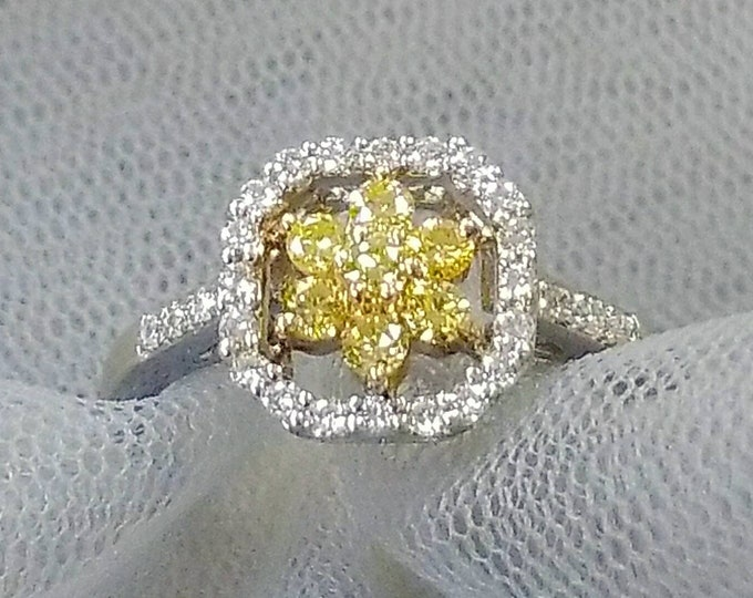 14K White Gold with a Yellow Gold Prong set Center White Diamond and Yellow Diamond Ring. Super Sparkly Beautiful Ring.