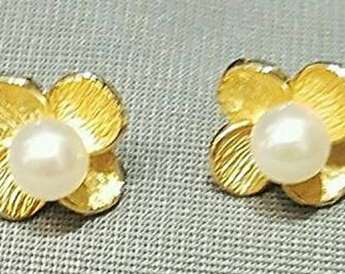 Pair of 14K Yellow Gold Cultured Pearl Earrings in a Floral Design