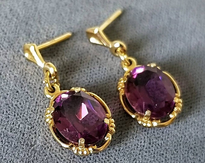 Pair of Hallmarked 14K Yellow Gold Genuine Amethyst Pierced Earrings with a Post and Back Dangle Style. A Pair of New Backs are Included