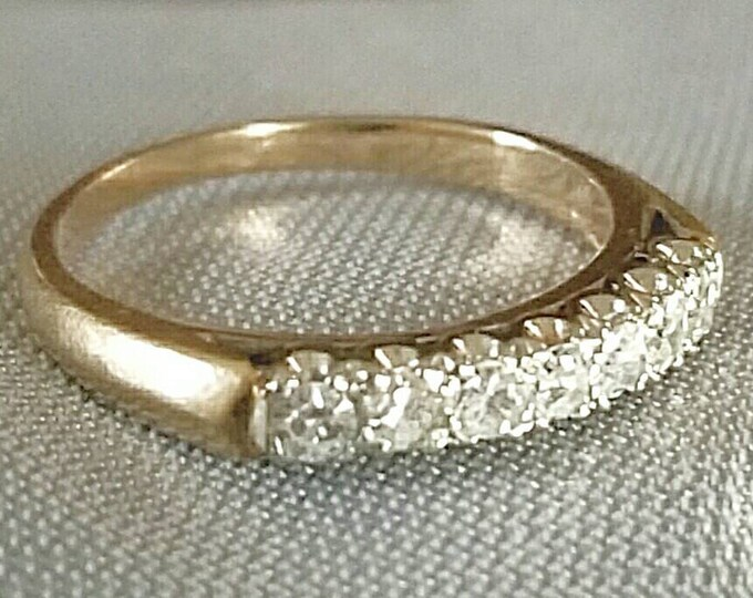 14K Yellow Gold with White Prong set Diamonds. All White Diamonds, Better Pictures Soon. Single cut Bright Diamonds. Wedding, Stackable Ring